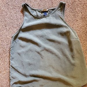 Green tank top with button detailing